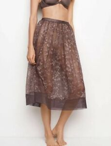 VS Very Sexy Sheer Floral Lace Midi Skirt Half Slip Cocoa Gray Pewter Size S NEW