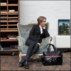Babymel Storksak Cara Black Gloss Designer Nappy Diaper Bag Changing Mat Set New
