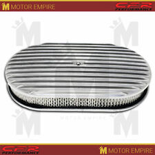 "Fits Chevy Ford Mopar 15"" Oval Polished Aluminum Air Cleaner Full Finned"