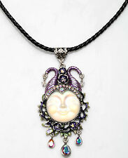 KIRKS FOLLY MALEFICENT HAPPY FACE SEAVIEW MOON 25mm CORD NECKLACE ST/ CRYSTAL AB