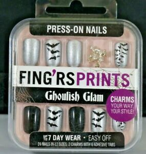 FING'RS PRINTS GHOULISH GLAM Press-On Nails Mysterious Maven Halloween W/ Charms
