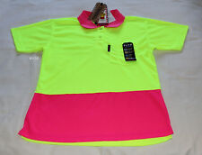 Tradie Ladies Work Fresh Hi Vis Yellow Pink Short Sleeve Polo Size 10 New