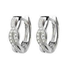 Silver Huggie Earrings 18ct White Gold on 925 Hallmark Silver Love Gift for Her