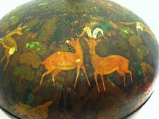 Vintage Indian Lacquered Box, Flora and Fauna, Trinket, Accent, Centerpiece