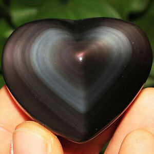 Large Natural Rainbow Obsidian Heart Shaped Palmstone Quartz Crystal Healing Gem