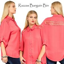 New Lattice Shouldered Coral Top Plus Size 18/2XL (9831)LW