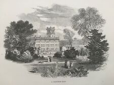 1848 Antique Print; Trentham Hall, Stoke-on-Trent, Staffordshire after F.W.Hulme