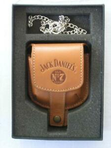 JACK DANIELS OLD NO. 7 STERLING POCKET WATCH, CHAIN AND LEATHER POUCH