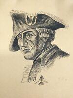 Kohlezeichnung Porträt Friedrich II., Friedrich der Große, 1928, signiert
