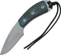 Tops TP-4020 Black Coyote Blue Straight Carbon Steel Fixed Blade Knife + Sheath