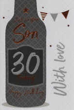 30th SON BIRTHDAY CARD AGE 30 ~ BOTTLE DESIGN QUALITY CARD WITH NICE VERSE