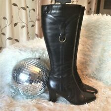 Clarks Black Faux Leather Knee High Boots size UK 4.5 EUR 37.5