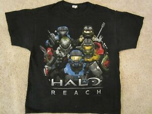 RARE 2010 Halo Reach Xbox Promo Master Chief Black Shirt Men's Large Game Retro