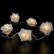 10 Cadena De Luces LED Rosas con Temporizador Blanco Cálido Longitud Aprox. 1,9m