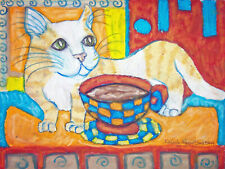 Munchkin Cat Collectible Art Print 4 x 6 Signed by Artist Ksams Vintage Style