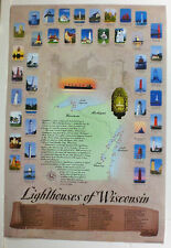 """All The Lighthouses in Wisconsin Poster 24"""" X 36"""" Photography By Darryl R. Beers"""