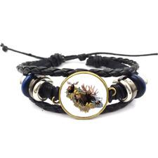 Moose Collage Glass Cabochon Bracelet Braided Leather Strap Bracelets