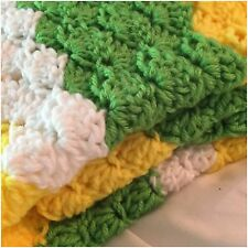 Crochet Baby Blanket Green, Yellow and White Baby Blanket Travel Blanket