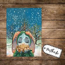 A6 Postkarte Weihnachtskarte Print Karte Weihnachten Winter Hase mit Tee pk123