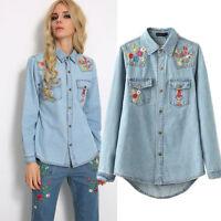 Women Vintage Floral Embroidered Long Sleeve Lapel Blue Denim Top Blouse Shirt