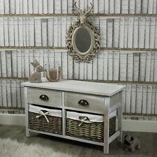 VINTAGE GRIGIA CASSETTI VIMINI cesti portaoggetti di lino camera da letto copertura maniglia in ottone