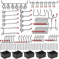 114 pcs Pegboard Hooks Assortment with Metal Hooks Sets, Pegboard Bins, Peg for