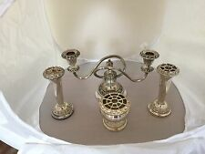 Lovely Victorian Silver Plated Candelabra, Two Bud Vases And A Bowl