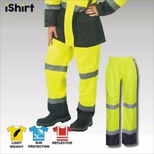 HI VIS RAIN PANTS WATERPROOF RAIN TROUSERS REFLECTIVE TAPE SAFETY WORKWEAR