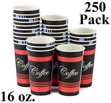 250 Pack 16 Oz Eco Friendly Disposable Poly Paper Hot Tea Coffee Cups No Lids