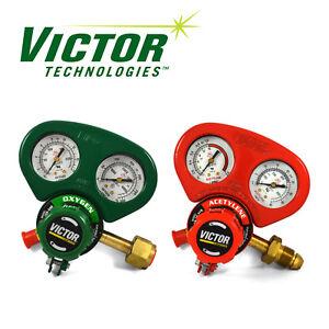 Set of Medium Duty Victor Oxygen & Acetylene Regulators w/ Metal Gauge Guards **