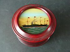 Vintage Nautical Mahogany Desk Organising Box Reverse Hand Painted  Glass Lid