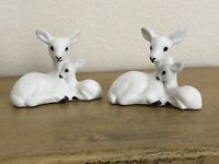 White Flocked Deer Doe And Fawn Laying Down Set Of 2 Plastic