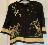 Onque Casuals Top Giraffes Safari Beads 3/4 Sleeve Women's Size L