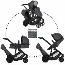 NEW HAUCK DUETT 3 DOUBLE TANDEM TWIN PUSHCHAIR PRAM BUGGY IN MELANGE CHARCOAL
