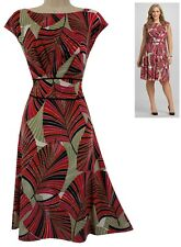 14W 1X SEXY Womens GORGEOUS PALM PRINT DRESS Spring Summer Wedding PLUS SIZE