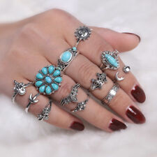 12Pcs/Set Retro Sun Moon Oval Midi Ring Boho Knuckle Rings Punk Jewelry Cheap