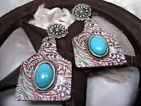 SOUTHWEST TOOLED TURQUOISE COWGIRL RODEO RANCH  EARRINGS SILVER POST FANCY FOX