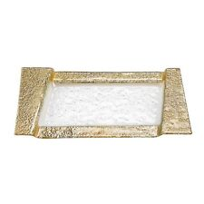 """(D) European Handcrafted """"Rimini"""" 5 Section Gold Glass Serving Tray (S1003)"""