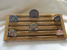 Military Challenge Coin/Casino Chips Wood Display Holder 5 Tier->Walnut  Stained