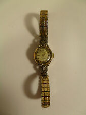 LADIES VINTAGE SWISS ELGIN WATCH STAINLESS STEEL, DIAMOND & STERLING SILVER LUGS