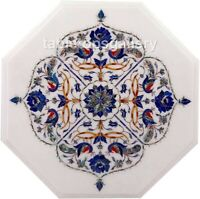 """12"""" Lapis Paua Shell Floral & Peacock Inlay Marble Top Coffee Table Decors W509"""