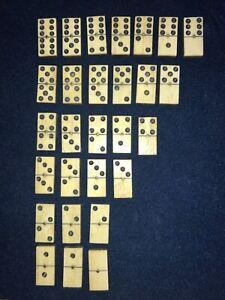 Antique Dominoes Set 28 pieces Ebony & Bone