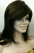 Med Long Dark Brown Wig Gently Layered w Side Swept Bangs & Volume Classic Cap