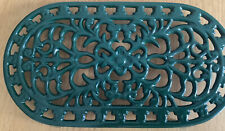 Vintage Country Green Oval Cast Iron Trivet