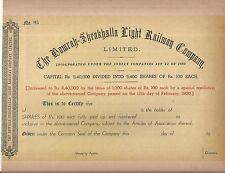 1900 India share certificate: Howrah Sheakhalla Light Railway Company Limited