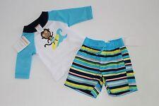 Gymboree Baby Boys Monkey Rash Guard Top Trunks Shorts Size 0-3 Months NEW NWT