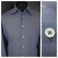 JOOP! Mens Formal Shirt 41 16 (XL) Long Sleeve Blue Regular Fit Striped Cotton