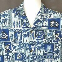 Royal Creations Men's Hawaiian Shirt Blue M Tapa Print Honu Surf Boards Boats