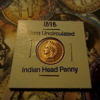 1898 Indian Head Cent: Gem BU MS UNC / Full Diamonds and Liberty