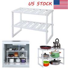 2-Tier Sink Rack Organizer Storage Expandable Kitchen Shelf Holder Under Cabinet